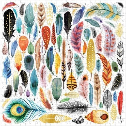 a puzzle with feather images for cottage tech detox