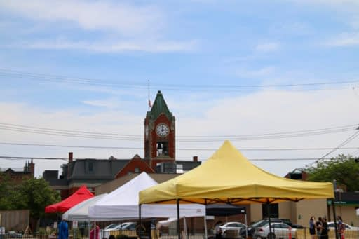 The stalls at the Collingwood Farmers' Market with the town hall clock tower in the background.