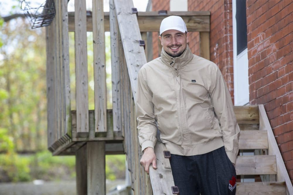Alex Kopacz, Olympic gold medallist in the two-man bobsled, is recovering from COVID-19 at his home in London, Ont. on Tuesday, May 11, 2021. (Derek Ruttan/The London Free Press)